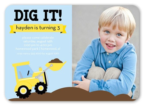 we dig trucks birthday invitation 5x7 flat