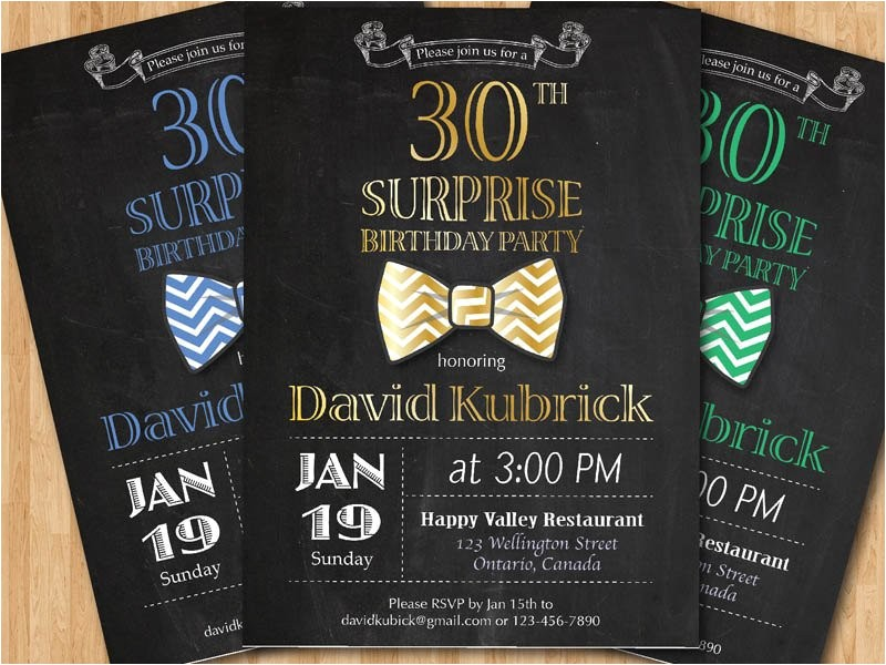 30th birthday invitation for men bowtie