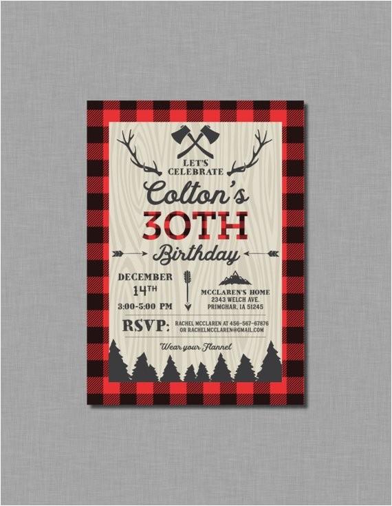 30th birthday invitations buffalo plaid digital