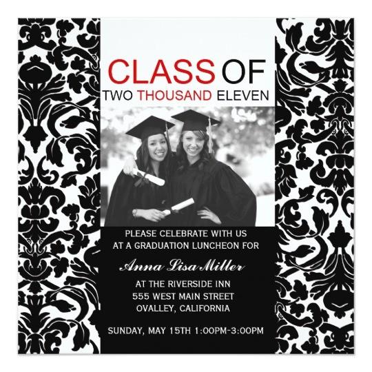 photo graduation invitations damask swirls 161359999202225232