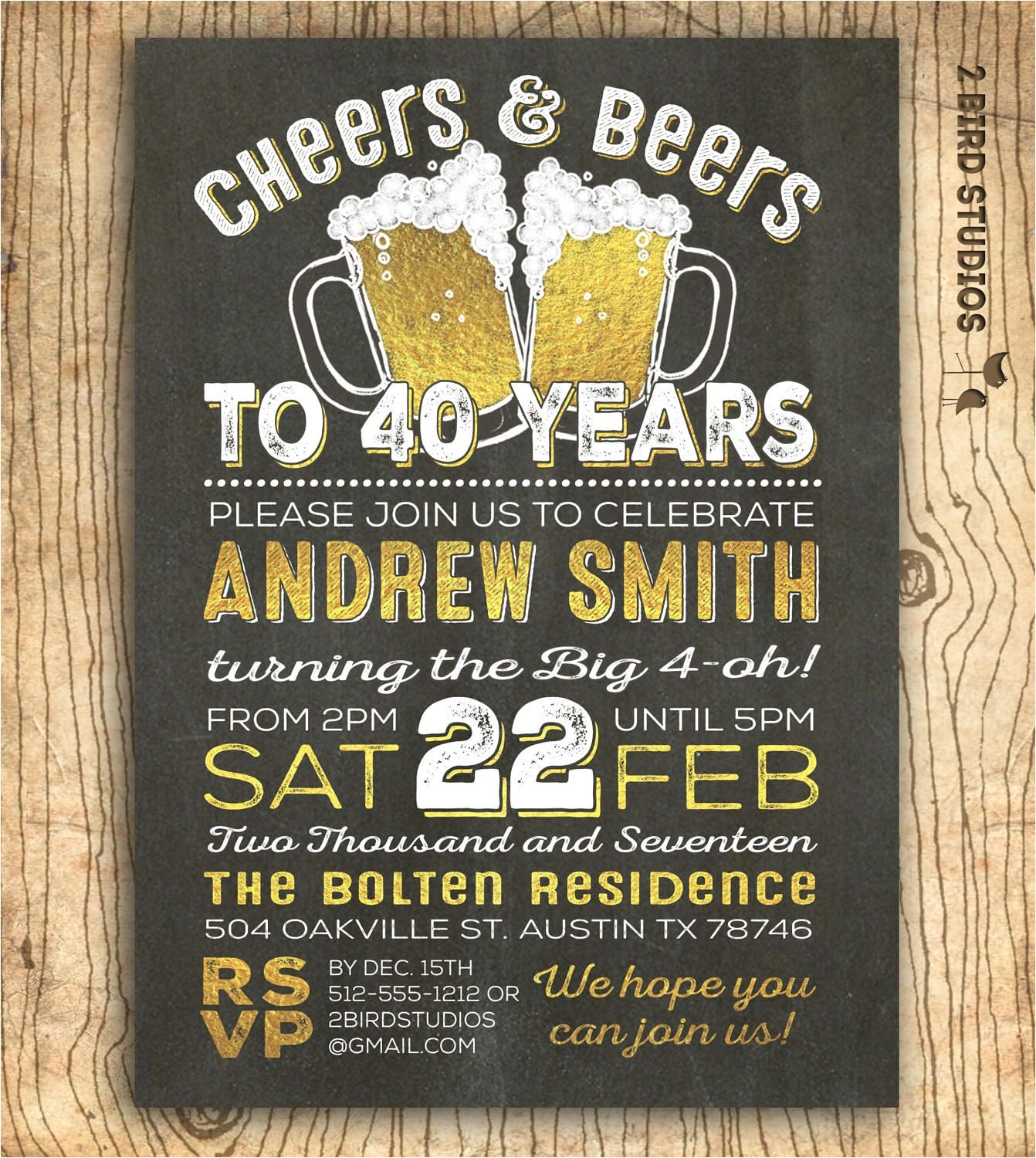 40th birthday invitation for men cheers