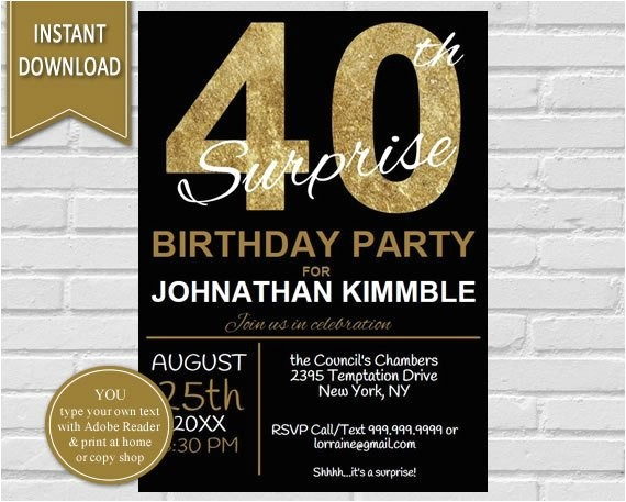 40th surprise birthday invitation 40th