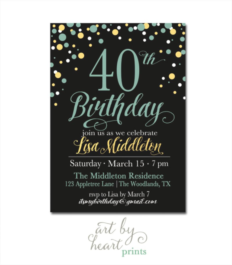 40 birthday invitation template