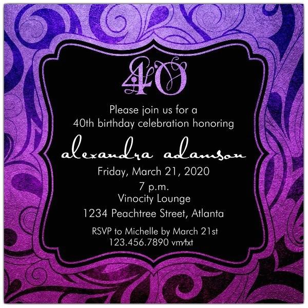 brilliant emblem 40th birthday party invitations p 615 55 242