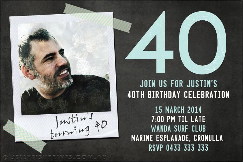 40th birthday photo invitation