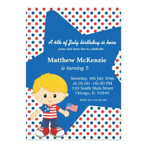 4th of july birthday boy 5x7 paper invitation card 161588258531059527