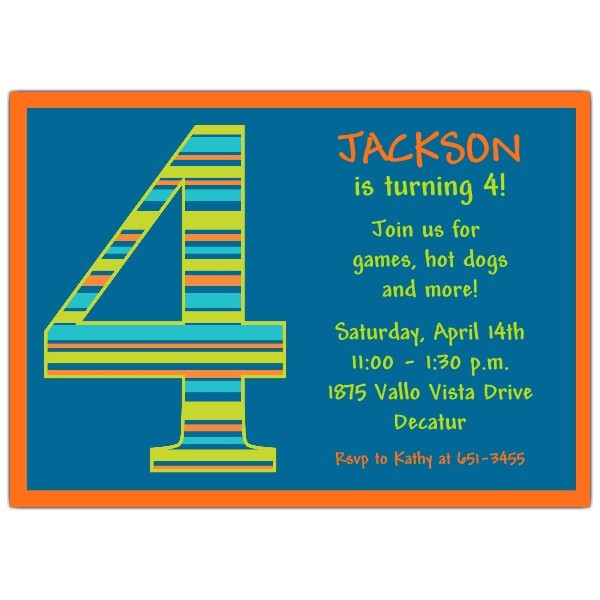 birthday boy stripes 4th birthday invitations p 602 57 1046