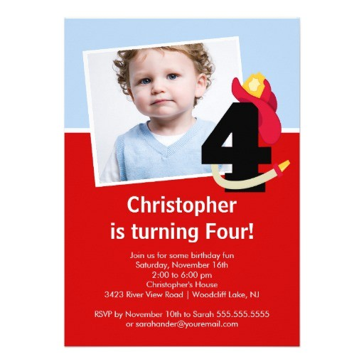 photo little firefighter boy fourth birthday party invitation 161006737634317647