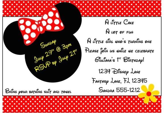 minnie mouse invitation template 4x6