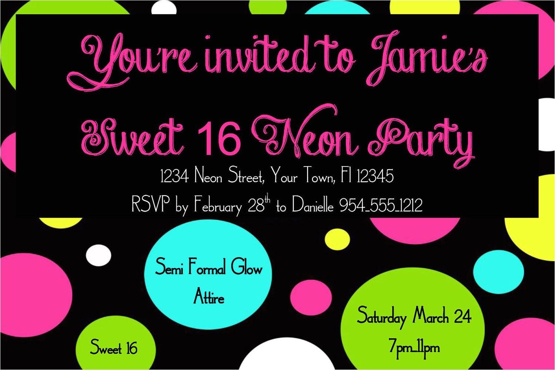 neon sweet 16 birthday invitation