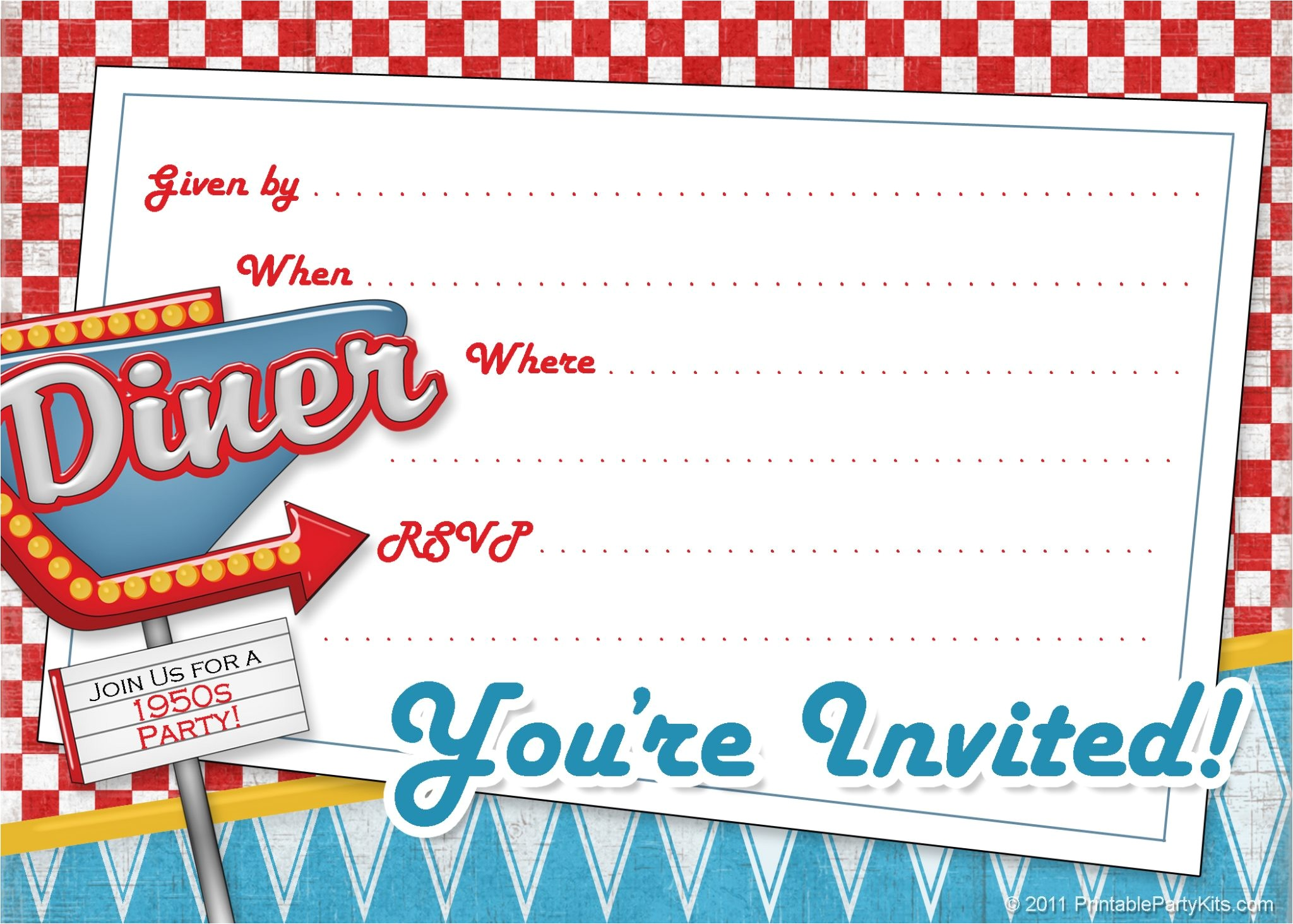 1950s retro invitations