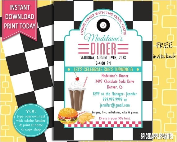 50s retro diner invite 50s party
