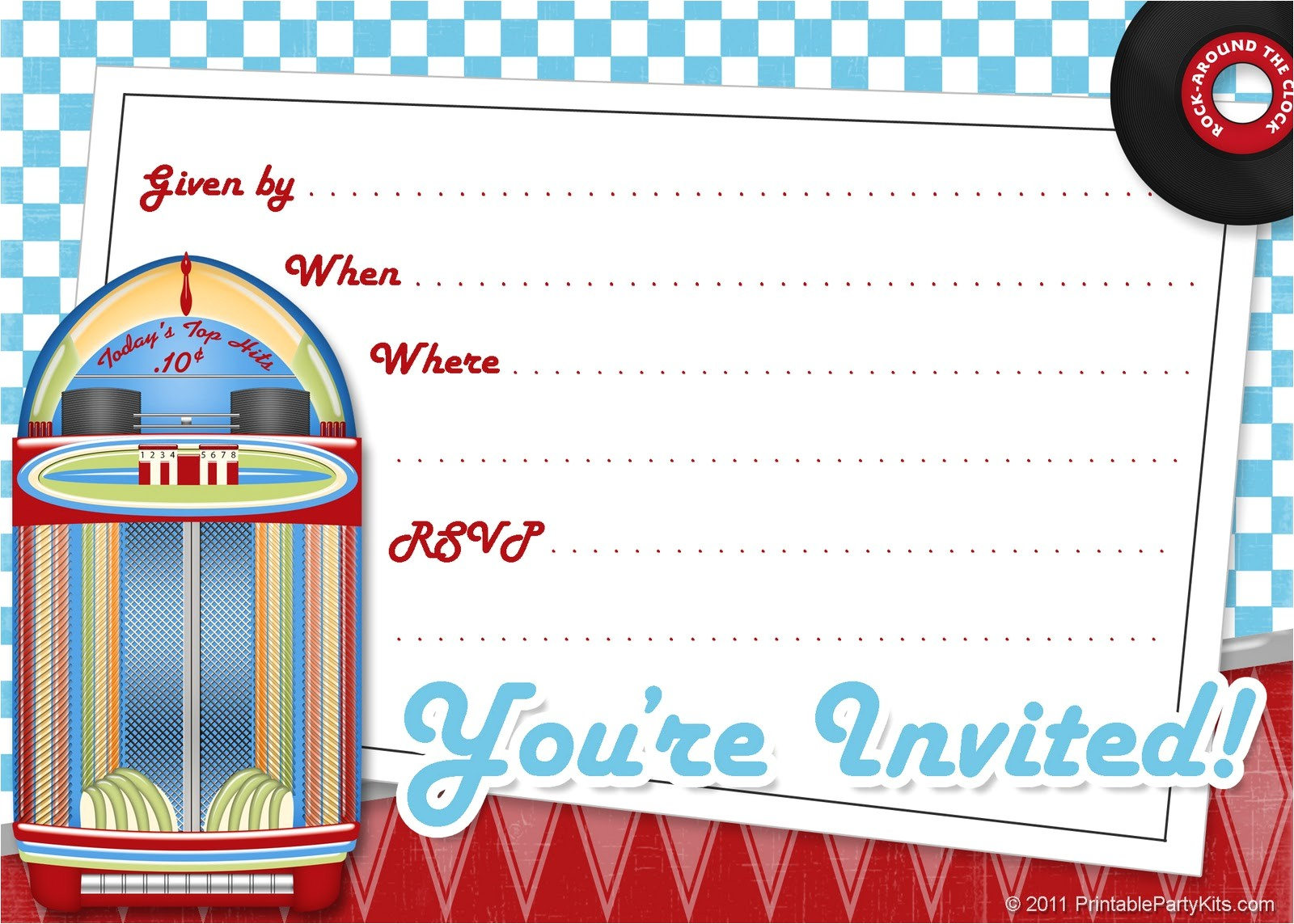1950s party invitations