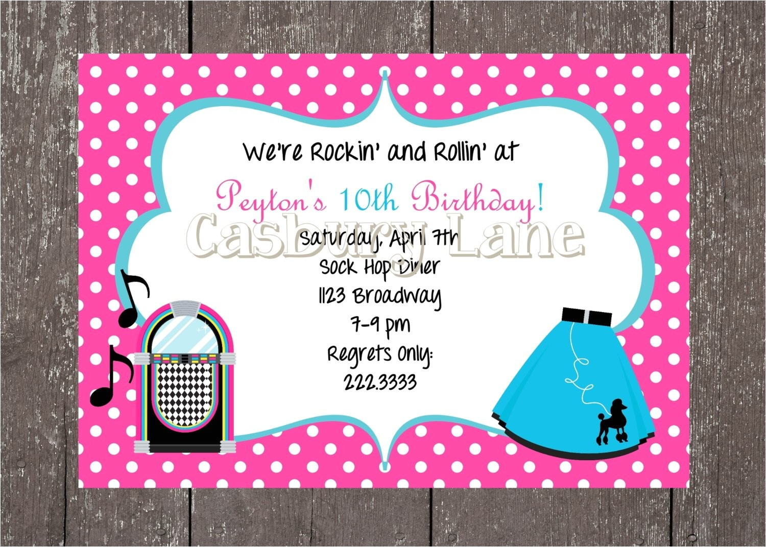 50s party invites and party tags 50s