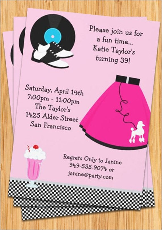 50s poodle skirt party invitation