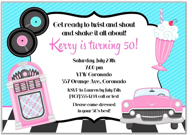 50s theme birthday party invitations