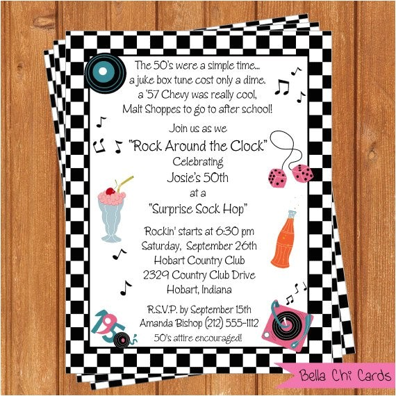 50s theme adult birthday invitations abi100diy