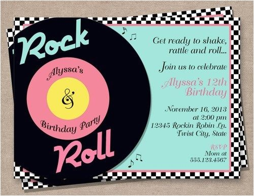50s theme party invitations