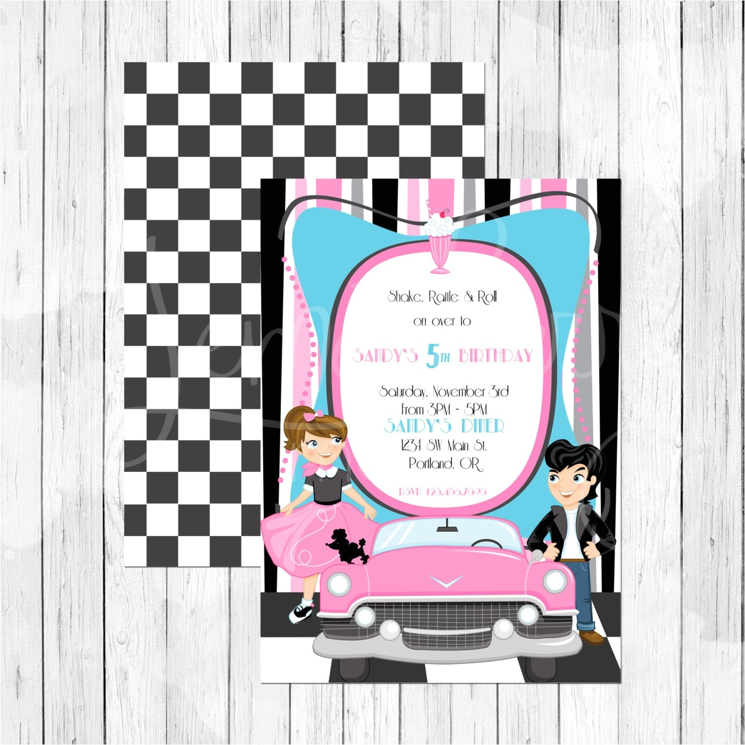 50s theme party birthday invitation or