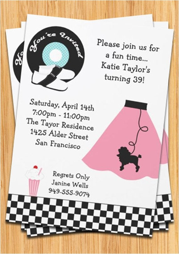 retro 50s poodle skirt party invitation