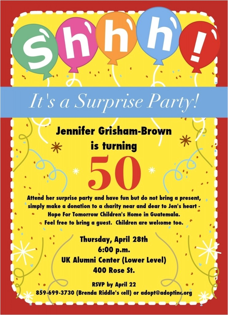 50th birthday surprise party invitations