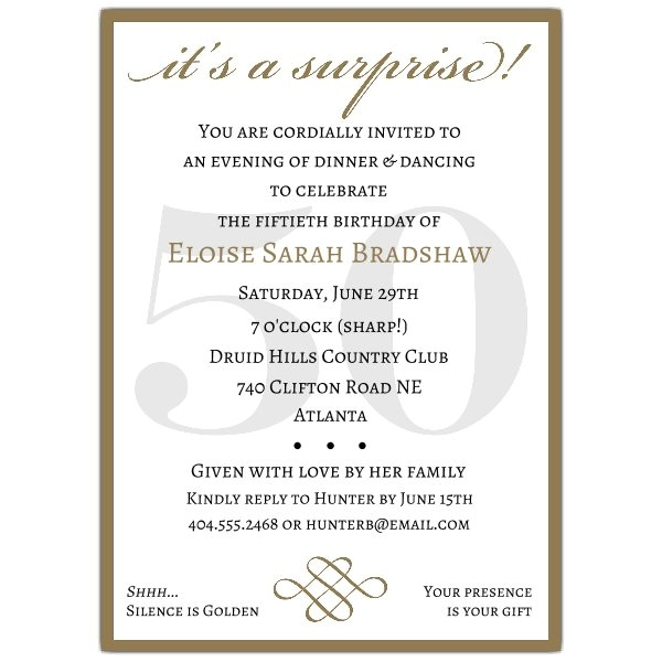 classic 50th birthday gold surprise party invitations p 607 57 50sg
