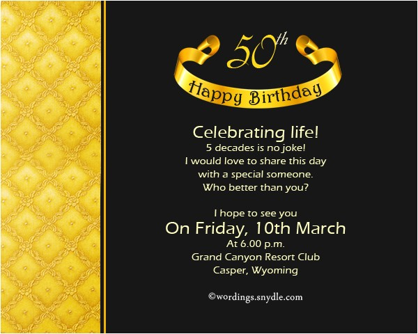 50th birthday invitation wording