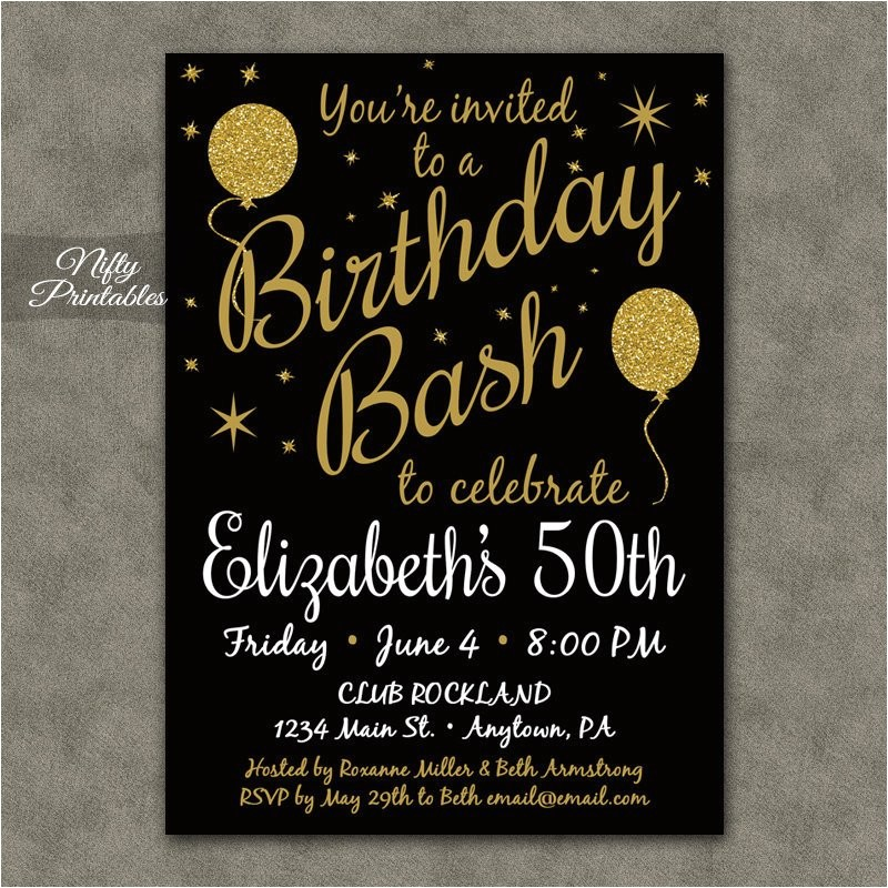 50th birthday invitation printable 50