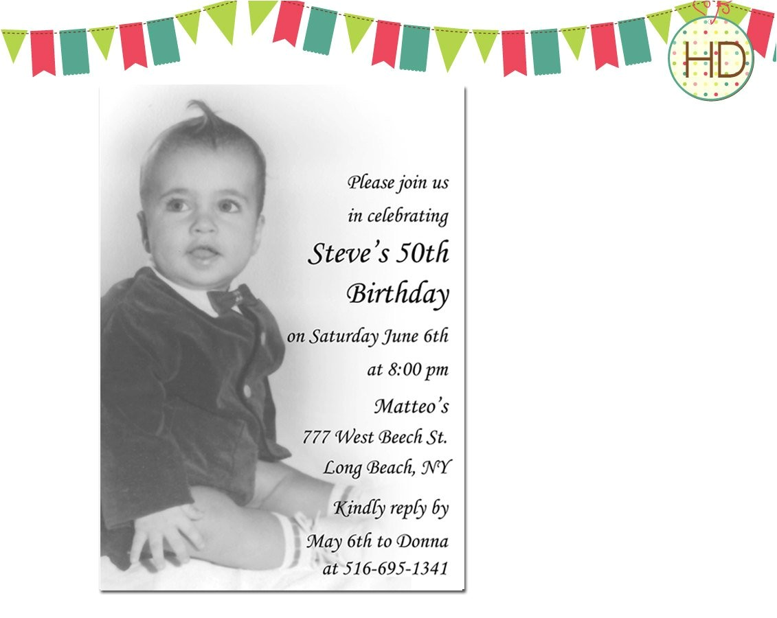 photo birthday invitation 50th birthday