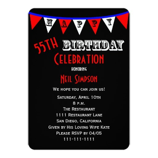 55th birthday party invitation bunting 161929064541793126