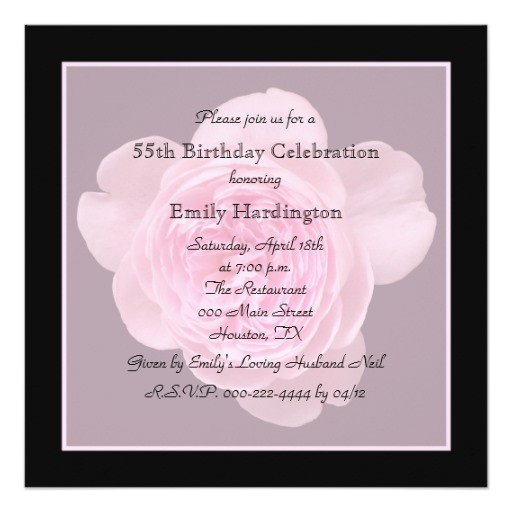 55th birthday party invitation rose for 55th 161308623958626431
