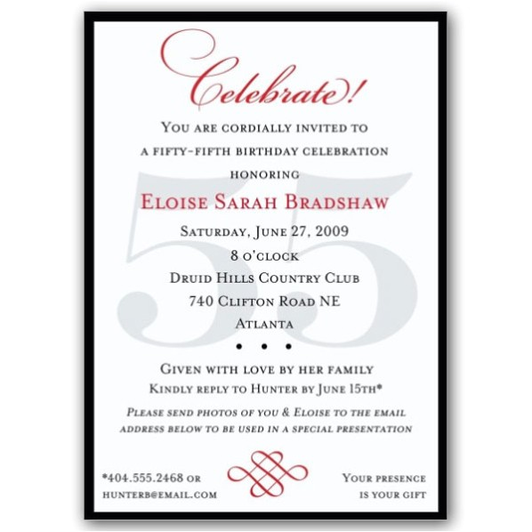 classic 55th birthday celebrate party invitations p 607 57 55c
