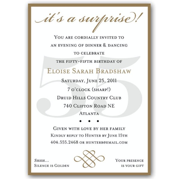 classic 55th birthday gold surprise invitations p 607 57 55sg