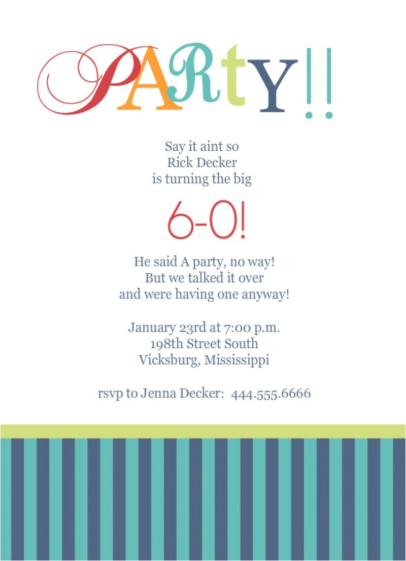 template for 60th birthday party invitation