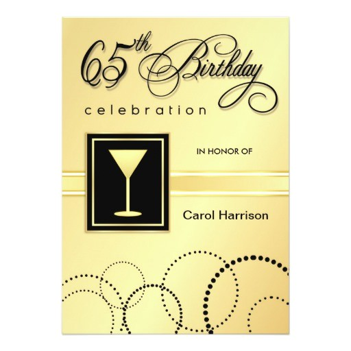 65th birthday party invitations gold monogram 161872385201583725