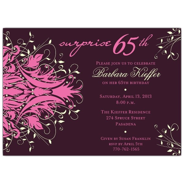 andromeda pink surprise 65th birthday invitations p 610 75 288p