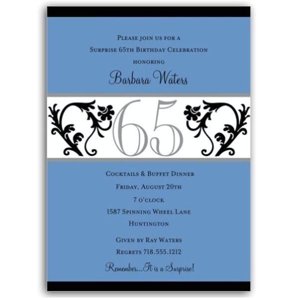 elegant vine blue 65th birthday milestone invitations p 604 57 ev65