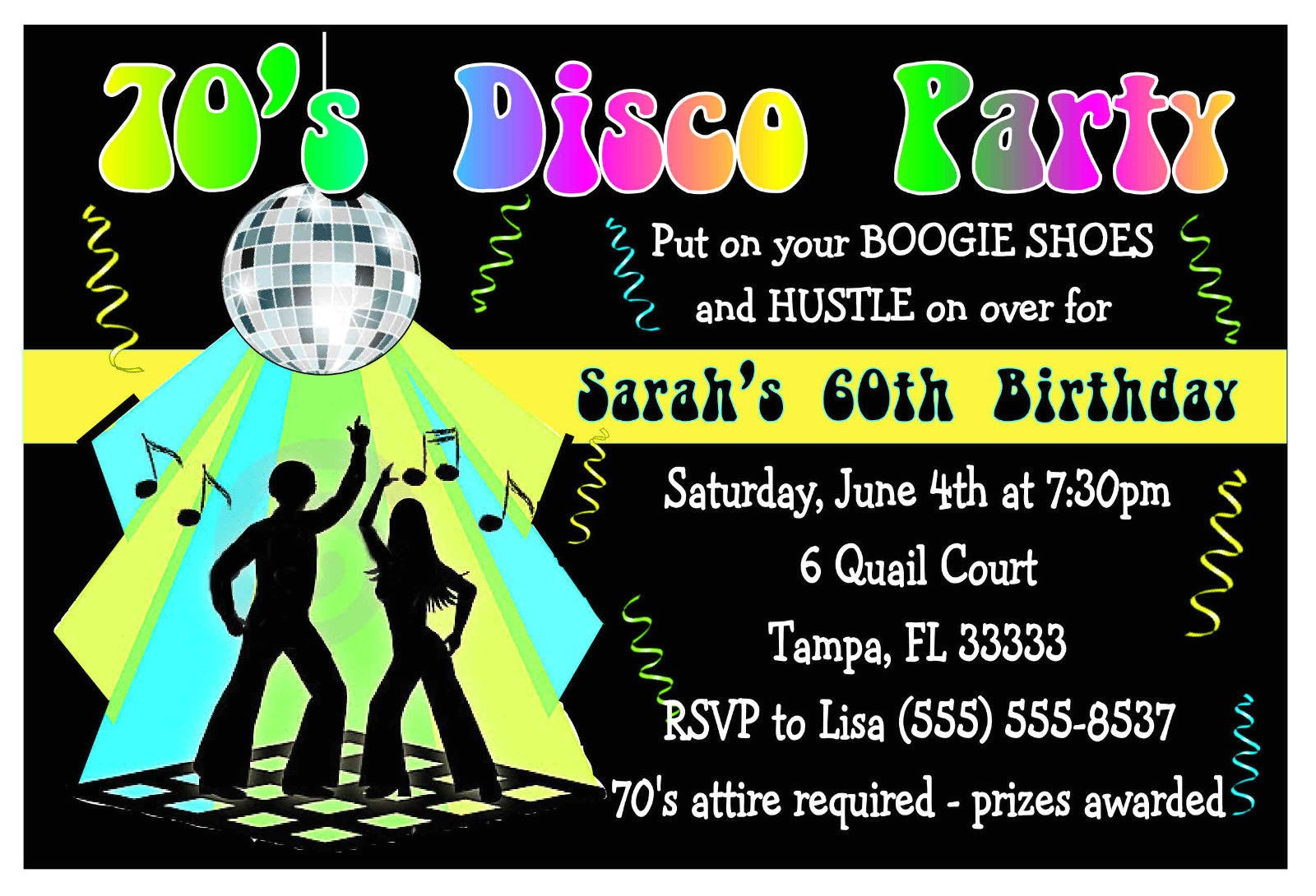 70s disco party invitations