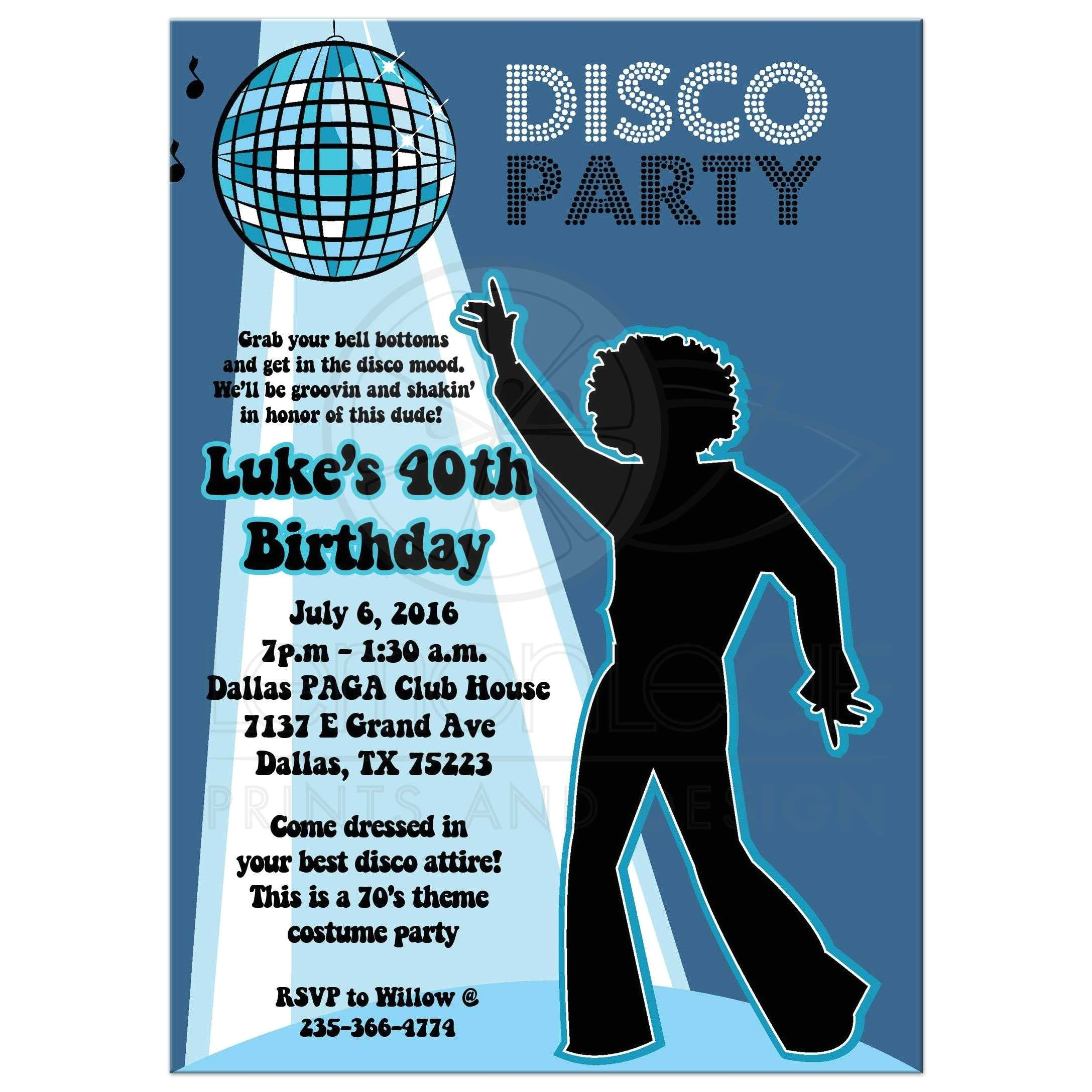disco ball 70s theme any age birthday party invitation boy