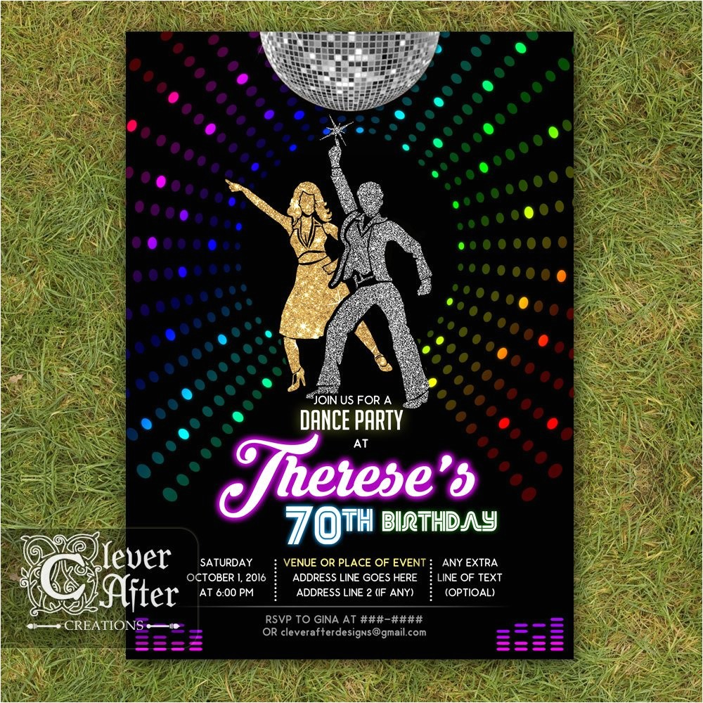disco invitation 70s disco dance night