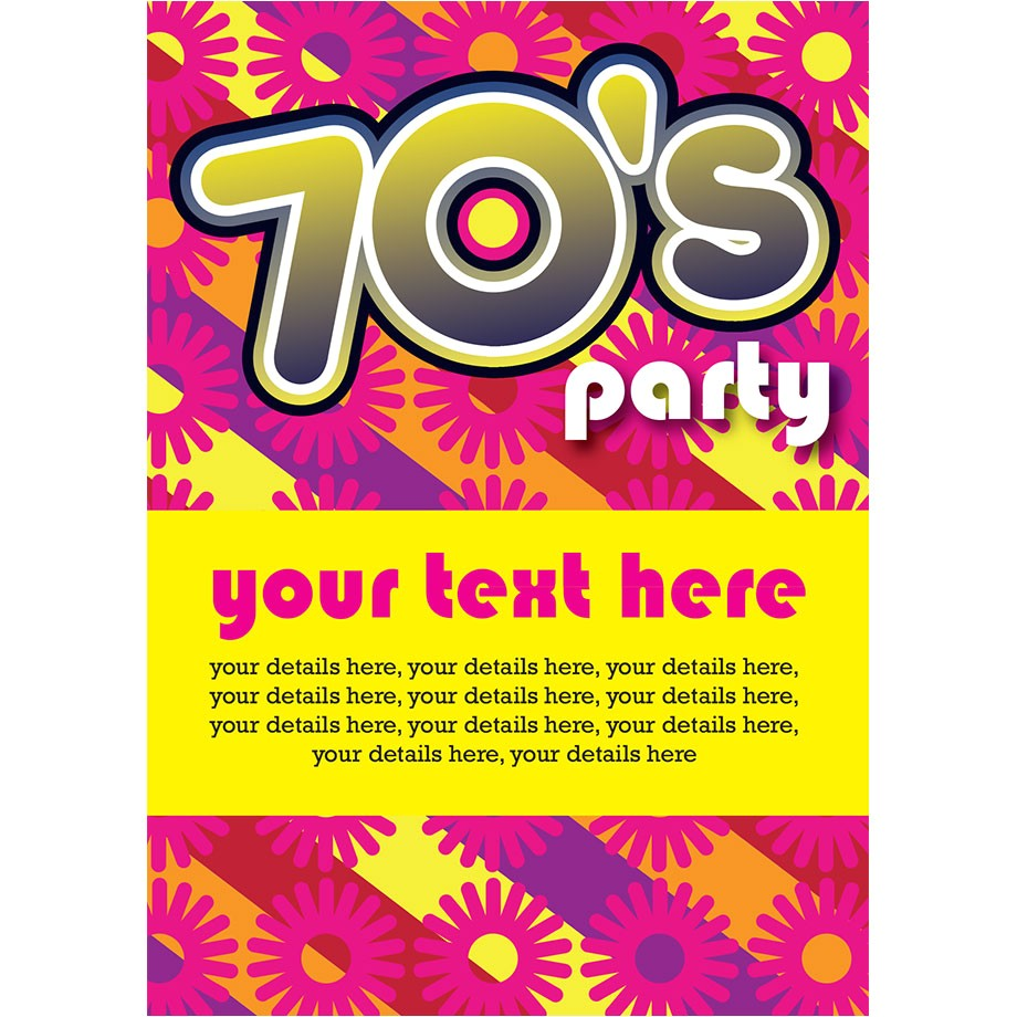 70s flower power party invitations
