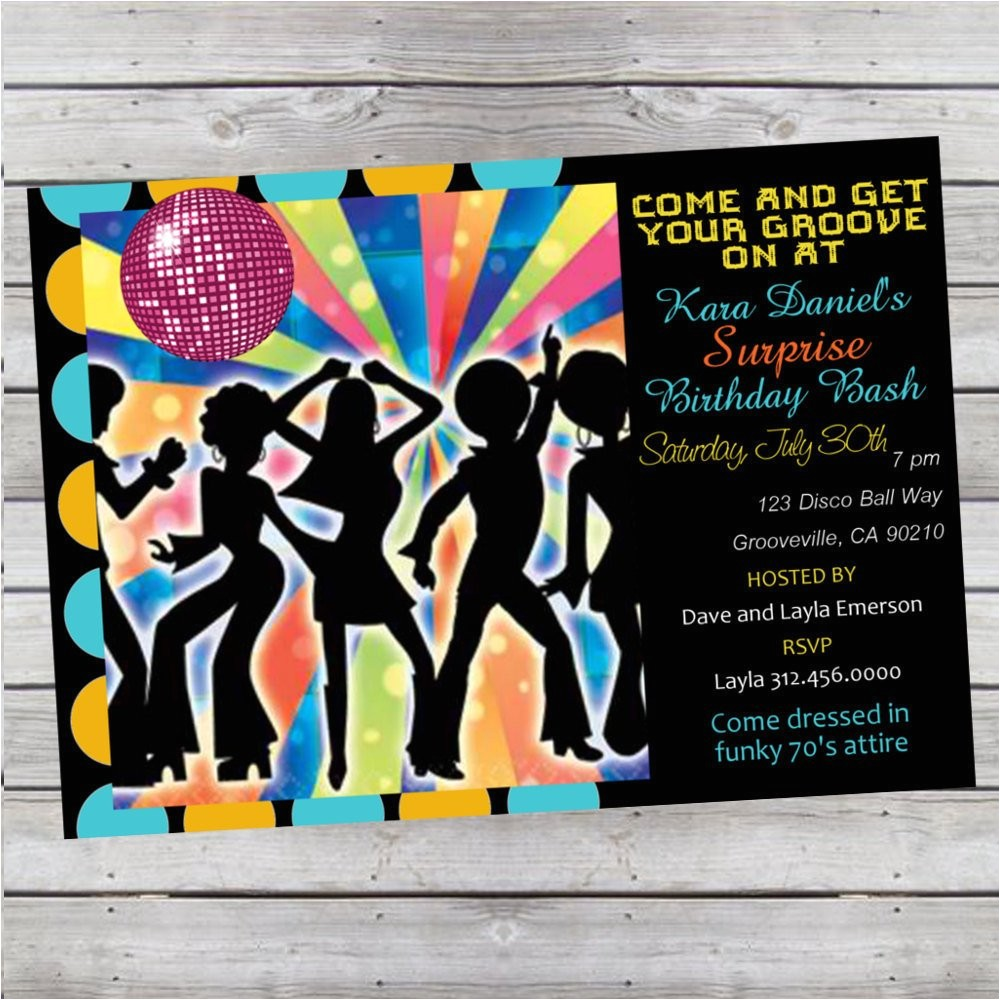 cool retro 70s disco birthday invitation