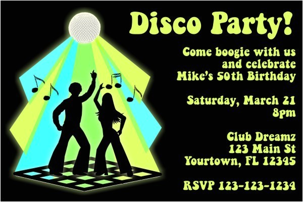 disco invitation personalized birthday