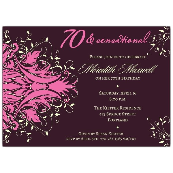 andromeda pink 70th birthday invitations p 610 75 289p