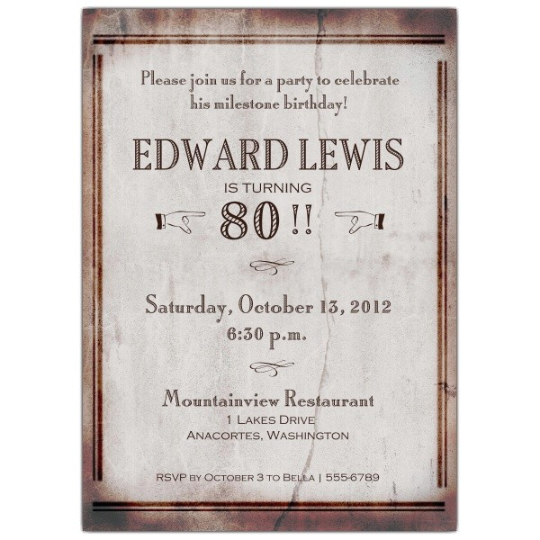 80 years old birthday invitations