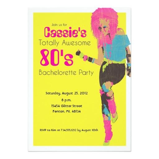 80s Bachelorette Party Invitations 80 39 S Glam 13 Cm X 18 Cm Invitation Card Zazzle