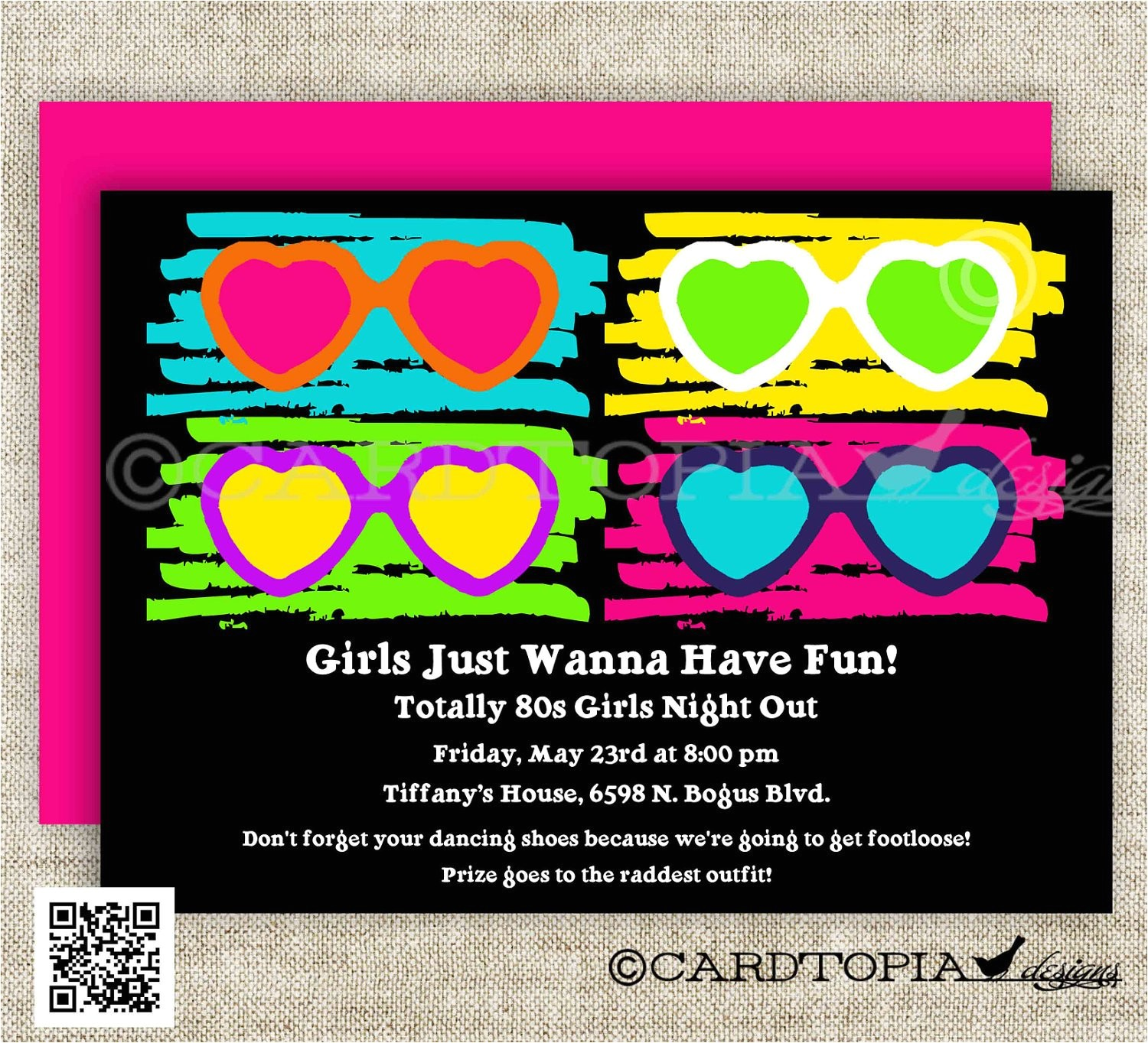80s birthday party invitations totally