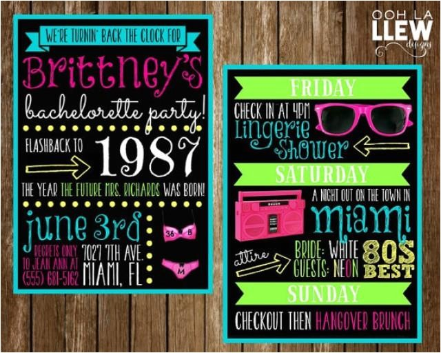 neon 80s bachelorette party invitation double sided