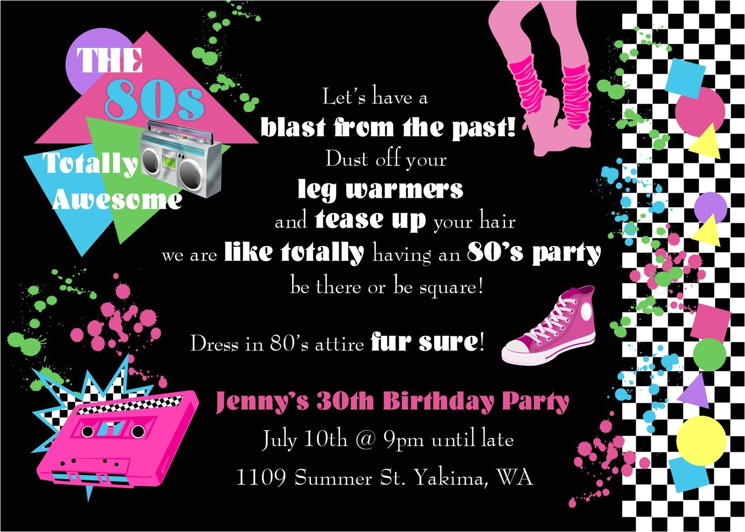 80s Birthday Party Invitation Template 80s Party Invitations Template Free Oxsvitation Com