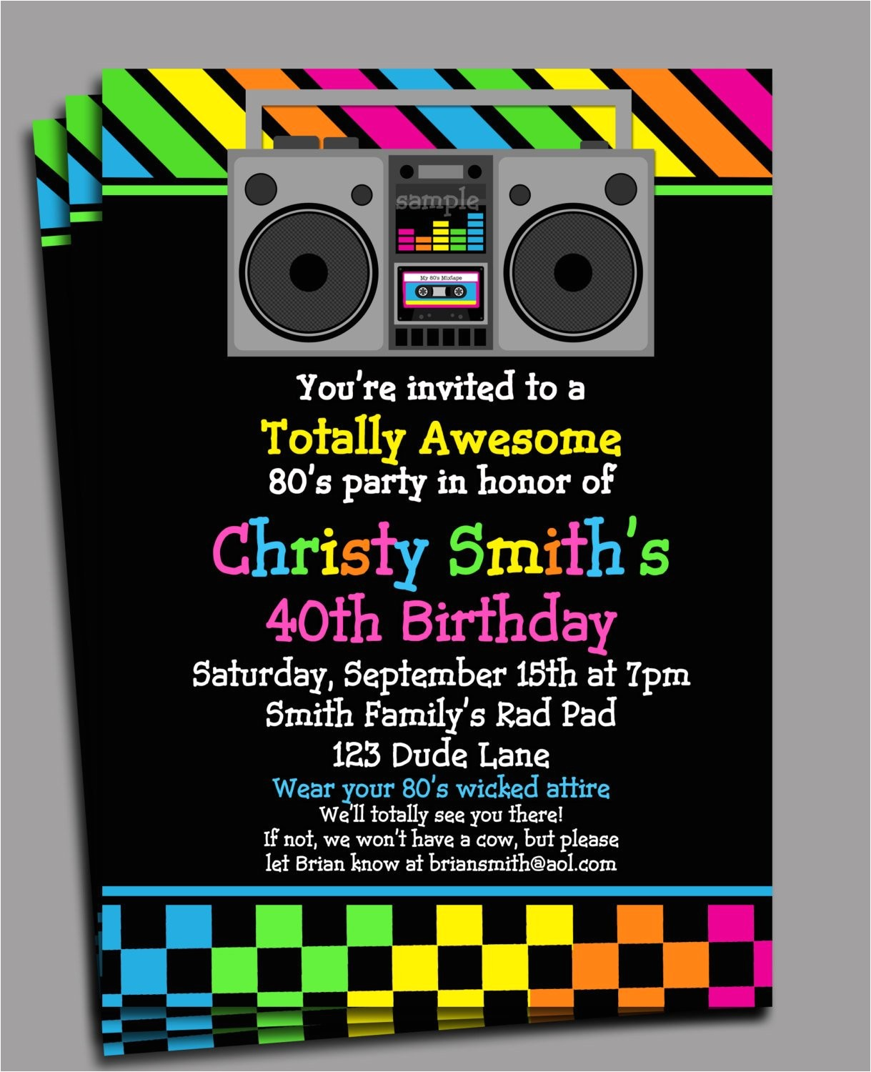 80s party invitation printable or